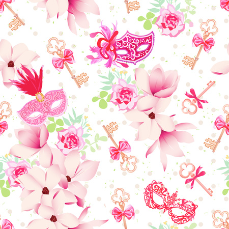 french fancy: Glamour carnival masks, vintage keys and small floral bouquets with pink bows seamless vector pattern