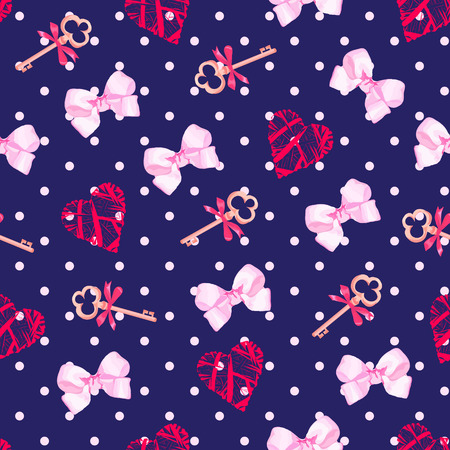 dotted background: Navy keys from valentines heart and pink satin bows seamless vector pattern. Polka dot backdrop.
