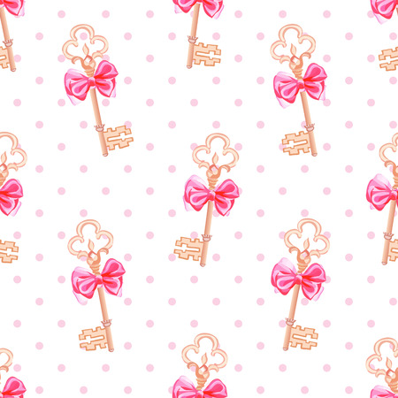 fairytale background: Princess keys on polka dotted background seamless vector print Illustration
