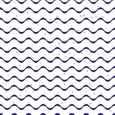 speckled: Simple navy ribbon waves and speckled backdrop seamless vector print
