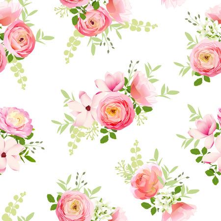 春の新鮮な花の繊細な束。バラ、ラナンキュラス、マグノリア、牡丹シームレスなベクトル印刷  イラスト・ベクター素材