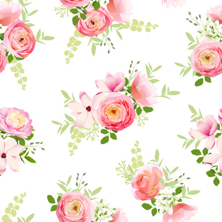 Delicate bunch of spring fresh flowers. Rose, ranunculus, magnolia, peony seamless vector print Çizim