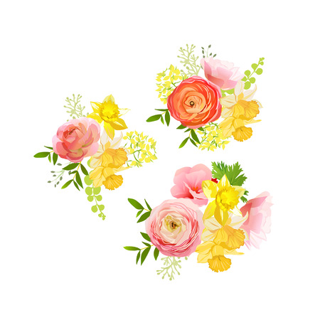 yellow flower: Sunny spring bouquets of rose, ranunculus, narcissus, peony. Happy and cheerful emotions vector design elements