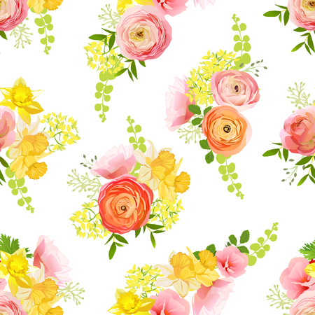 narcissus: Spring bouquets of rose, ranunculus, narcissus, peony seamless vector pattern Illustration