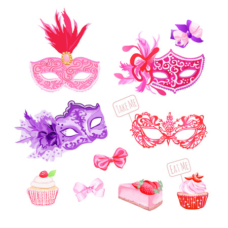 masked ball: Masquerade masks,bows, fresh pastries vector design objects set. All elements are isolated and editable.