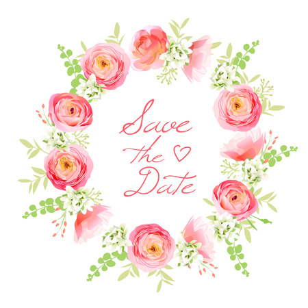 Delicate bouquet of spring fresh flowers. Rose, ranunculus, peony, berry round vector frame. Save the date wedding template  イラスト・ベクター素材