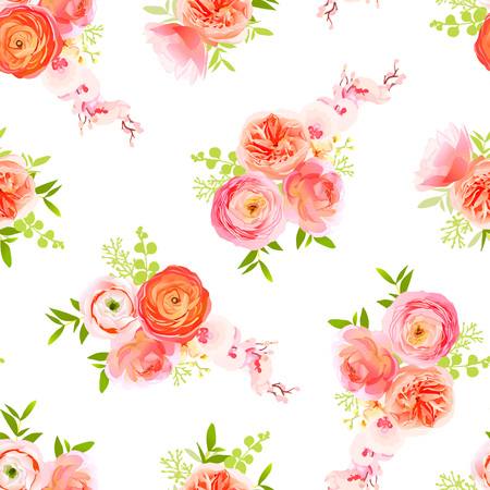 peachy: Peachy roses, ranunculus and exotic herbs bouquets seamless vector print Illustration
