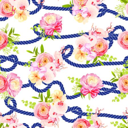 azul marino: Cuerda torcida azul marino y ramos de rosas de primavera, ranúnculo, orquídea con arcos de impresión de vectores sin fisuras Vectores