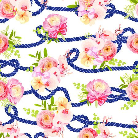 blue design: Twisted blue marine rope and bouquets of spring roses, ranunculus, orchid with bows seamless vector print