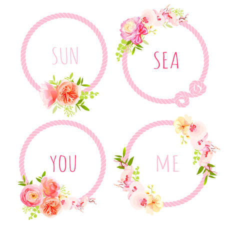 Cute exotic bouquets and pink sea rope round vector design frame set