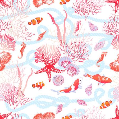 海の魚、赤い星、貝、タツノオトシゴ、藻類のシームレスなベクトル印刷。青い海洋ロープの背景。