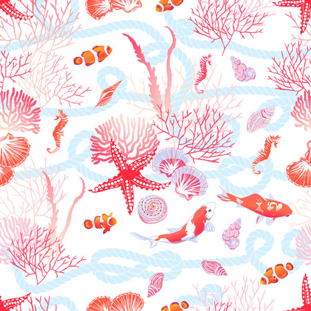 Sea with fishes, red star, shells, seahorse, algae seamless vector print. Blue marine rope background. Ilustração