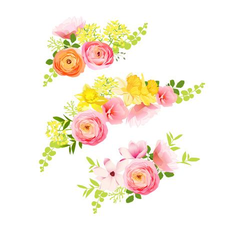 バラ、ラナンキュラス、スイセン、牡丹の日当たりの良い春の花束。幸せで陽気な感情ベクトル デザイン要素
