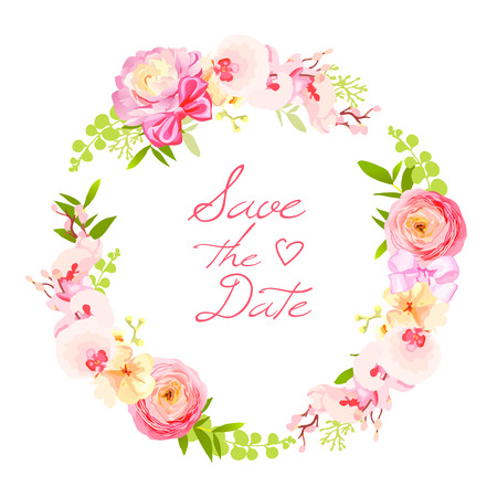 Spring fresh rose, ranunculus, peony, berry round vector frame. Save the date wedding template