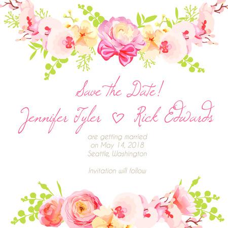 Frische Hahnenfuß, Orchideen und rosa Rosen mit Bögen floralen Design-Rahmen Vektor-Element