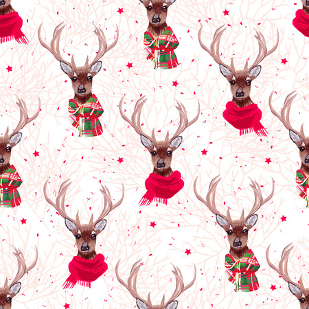 Cute deer wearing stylish winter scarves seamless vector print. Tree  and stars backdrop