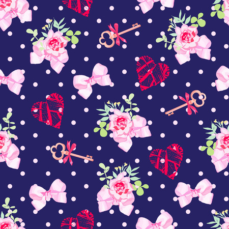 pink satin: Navy keys from valentines heart, small rose bouquets and pink satin bows seamless vector pattern. Polka dot backdrop.