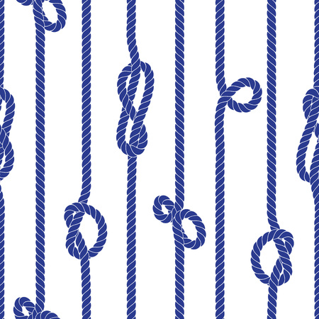 Vertical navy marine rope with knots seamless vector pattern Stock Illustratie