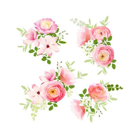 Wedding bouquets of fresh roses, magnolia, ranunculus  vector design elements
