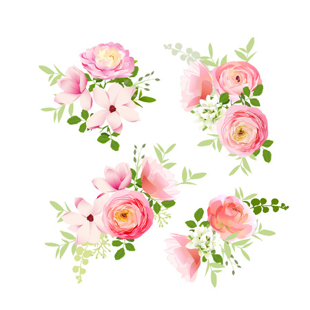 Wedding bouquets of fresh roses, magnolia, ranunculus  vector design elements