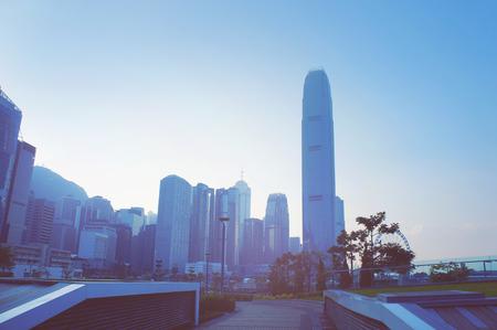 futuristic city: Futuristic city Hong Kong, view from Tamar park Stock Photo