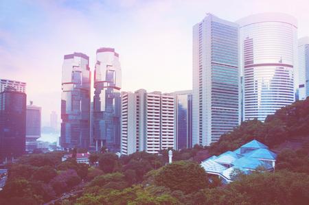 futuristic city: Futuristic city Hong Kong, view from Hong Kong park Stock Photo