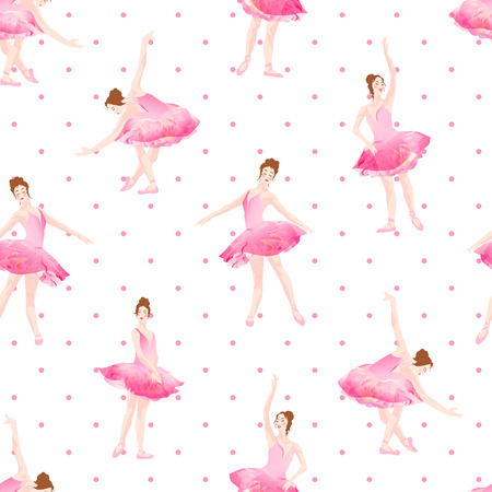 Beautiful ballerinas dance on pink polka dot background seamless vector pattern