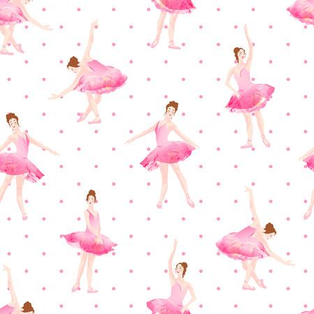 Beautiful ballerinas dance on pink polka dot background seamless vector pattern