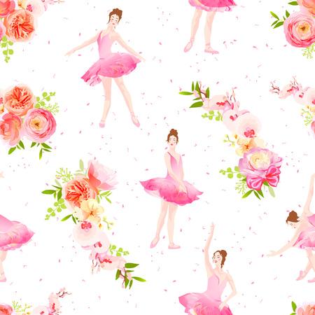 Beautiful ballerinas dance and fresh spring flower garlands seamless vector pattern Фото со стока - 52955495