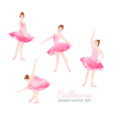 Beautiful ballerina wearing pink tulle tutu design vector set. Dancing graceful woman with athletic body.