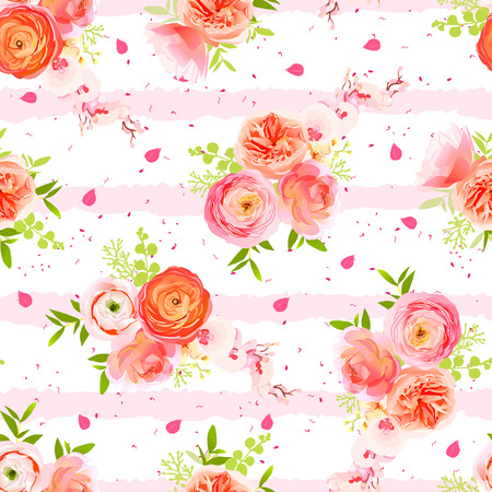 Peachy roses, ranunculus, petals and exotic herbs bouquets striped seamless vector print