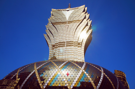 The facade of Grand Lisboa Macau casino resor