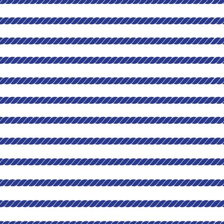 Horizontal navy marine rope striped seamless vector pattern