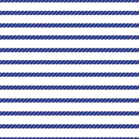 twisted: Horizontal navy marine rope striped seamless vector pattern