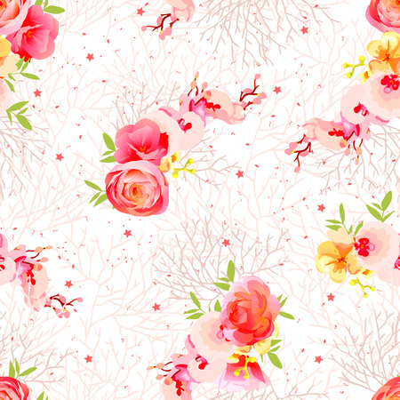 peachy: Peachy flowers, ranunculus, orchid, roses and exotic herbs seamless vector print. Beige twigs with speckes and stars backdrop.