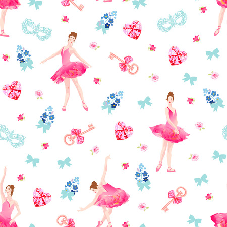 forget me not: Romantic seamless vector pattern with ballerinas, keys, bows, pink diamond hearts, flowers. Forget me not small bouquets. Illustration