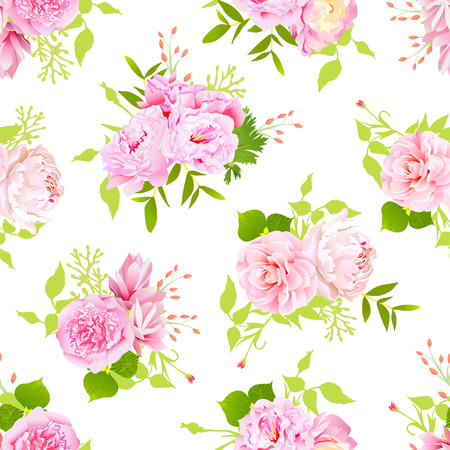 pink peonies with green leaves on white seamless print in shabby chic style.