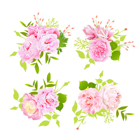 Sweet pink peonies bouquets design elements in shabby chic style.  イラスト・ベクター素材