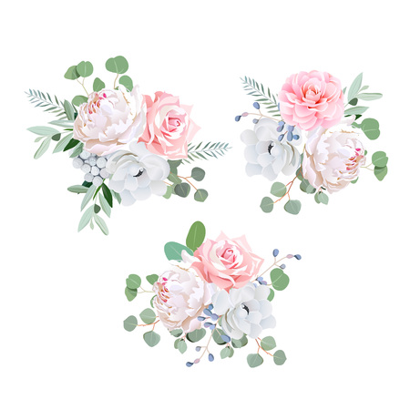 Bouquets of rose, peony, anemone, camellia, brunia flowers and eucaliptis leaves. design elements. Vectores