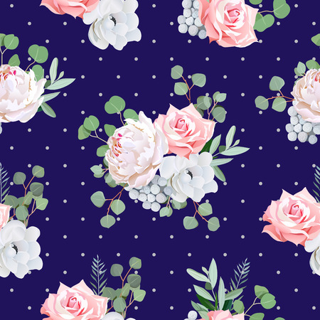 gray anemone: Navy pattern with bouquets of rose, peony, anemone, brunia flowers and eucaliptis leaves. Seamless print and polka dots backdrop.