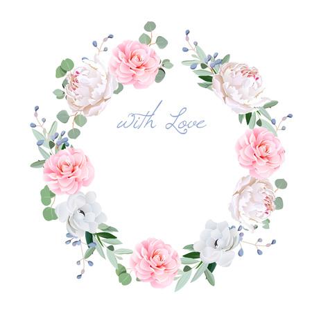 Frühling frischen Pfingstrose, Anemone, Kamelie, Brunia Blumen und eucaliptis Blätter runden Rahmen. Alle Elemente sind isoliert und bearbeitet werden.