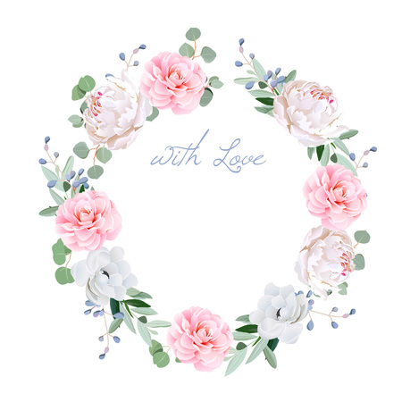 Spring fresh peony, anemone, camellia, brunia flowers and eucaliptis leaves round frame. All elements are isolated and editable. Illustration