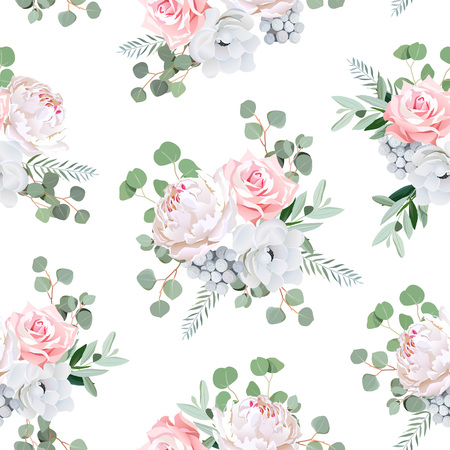 Cute bouquets of rose, peony, anemone, brunia flowers and eucaliptis leaves. Seamless print. Illustration