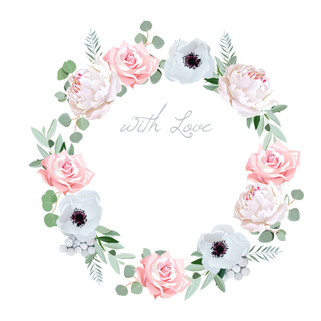 Beautiful delicate peony, anemone, rose, brunia flowers and eucalyptus leaves round frame. All elements are isolated and editable.