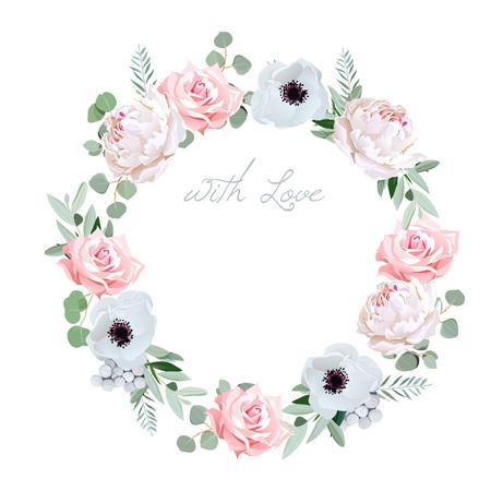 Piękna delikatna piwonia, zawilec, róża, Brunia kwiaty i liści eukaliptusa okrągłe ramki. Wszystkie elementy są izolowane i edytowalne.