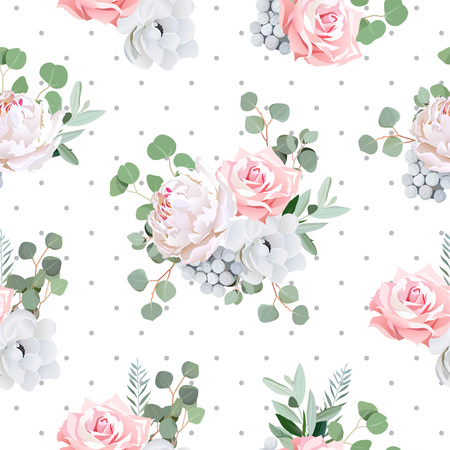 gray anemone: Delicate bouquets of rose, peony, anemone, brunia flowers and eucaliptis leaves. Seamless pattern with grey polka dotted backdrop.