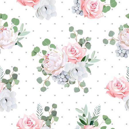 bouquet delicato di rosa, peonia, anemone, fiori e le foglie Brunia eucaliptis. modello trasparente con grigio Polka sfondo tratteggiata.