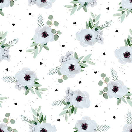 gray anemone: Anemones, brunia flowers and eucaliptis leaves. Seamless pattern with black hearts dotted backdrop.