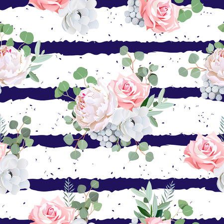 Navy striped print with bouquets of rose, peony, anemone, brunia flowers and eucaliptis leaves. Seamless pattern with speckled backdrop. Vectores
