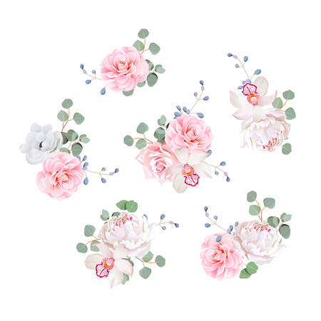 薔薇、牡丹、椿、蘭、アネモネ、椿、ブルーベリー、eucaliptis の小さな結婚式のブーケを残します。デザイン要素です。